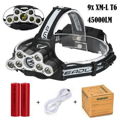 200000LM Skywolfeye 9x T6 LED Headlamp USB Rechargeable 18650 Headlight Torch US
