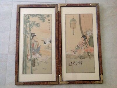 Two Chinese Water Color Painting Of Court Lady