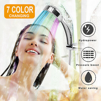 LED Shower Head Handheld 7 Color Changing Automatically Hydropower without BAT