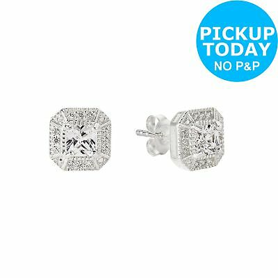 Revere Sterling Silver Cubic Zirconia Square Halo Earrings