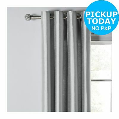 Argos Home Faux Silk Lined Curtains - 229x229cm - Dove Grey