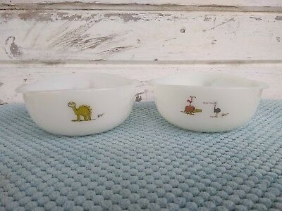 """FIRE-KING ANCHOR hocking Johny Hart signed Cave Man 4 1/2"""" Bowls (2)"""
