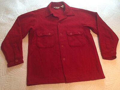 Vintage Boy Scouts BSA Red Wool Official Shirt Jacket Uniform 42 Excellent Cond