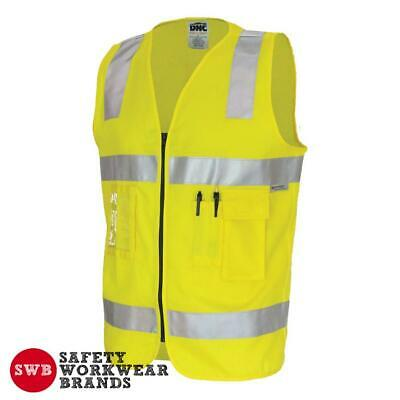 DNC Workwear Day Night Hi Vis Cotton Safety Vest Reflective Tape Yellow New 3809