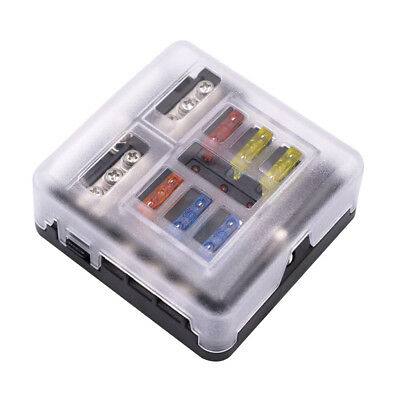 Universal Motorcycle Car Boat 6 Way Blade Fuse Box Holder with LED Indicator