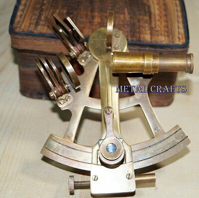Vintage Brass Sextant 4 With Leather Cover Handmade Ship Gps Inst Marine toy Gif