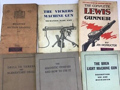 VINTAGE Military Gun & Drill Books - Lot of 6 - Bren Lewis Vickers