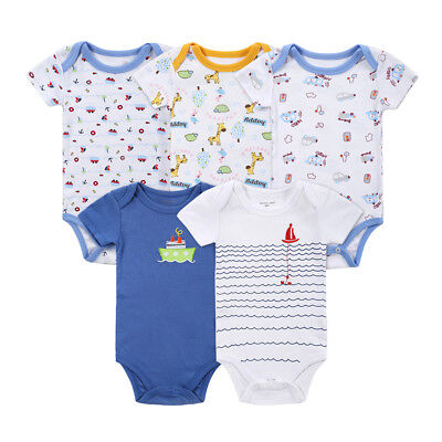 KQ_ HK- 5Pcs Newborn Baby Boy Cartoon Animals Car Ship Short Sleeve Romper Bodys