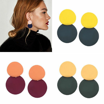 Fashion Women Resin Acrylic Fun Geometric Dangle Drop Statement Earrings Jewelry