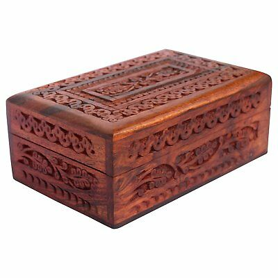 "Wooden Jewelry Box Handcarved Antique Wooden Box 6"" Accessory Jewelry Organizer"