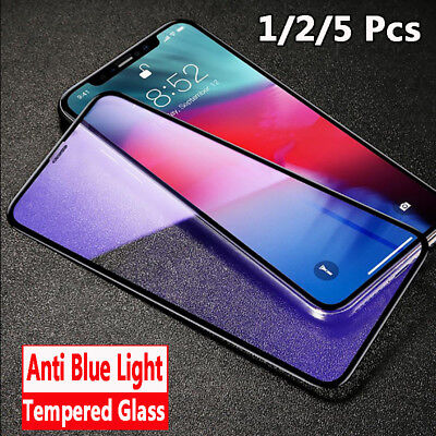 For iPhone X XS Max 8 Anti Blue Light Tempered Glass Screen Full Protector Film
