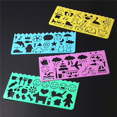 4Pcs Korea Stationery Cartoon Ruler Oppssed Drawing Template Mould s/