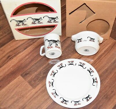 NEW VINTAGE B Kliban Red Shoes Cat Coffee Mug Cup Bowl Plate BOX SET Kiln Craft