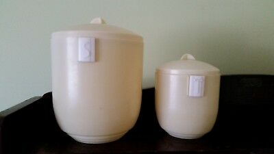 VINTAGE Bakelite kitchen canisters. 'Duperite. Made in Australia' 'S' and 'T'