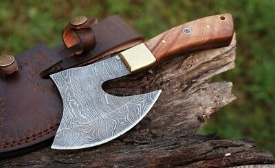Custom Damascus Hand Forged Tomahawk Viking Breaded Combat Throwing Axe