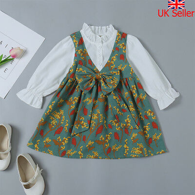Toddler Kids Baby Girls Dress Long Sleeve Party Casual Dresses Kids Clothes Tops
