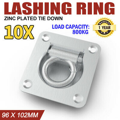 10X Lashing Ring Zinc Plated Tie Down Points Anchor Ute Trailer 96 X 102Mm New