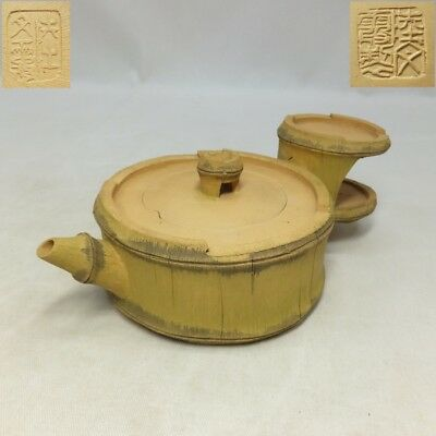H151: Chinese signed pottery teapot of bamboo shape for green tea SENCHA.