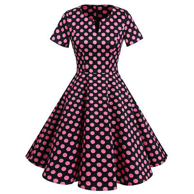 Women's 1950s Retro Vintage Short Sleeve Polka Dot Party Swing Cocktail Dresses