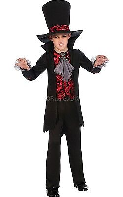 Kids Boys Deadly Vampire Lord Halloween Fancy Dress Costume Outfit Age 3 - 10