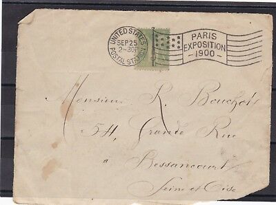 FRANCE LETTRE - CACHET EXPO - PARIS - 1900 + cachet USA