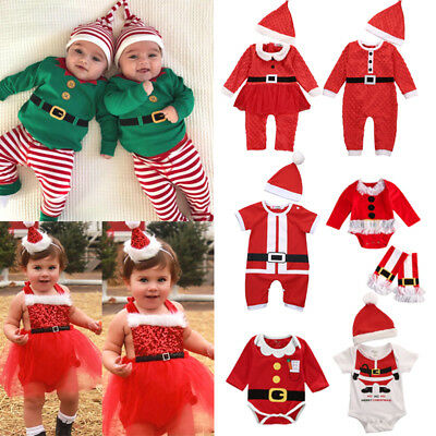 Christmas Newborn Baby Girls Boy Dress Romper Pants Hat Outfits Clothes AU Stock