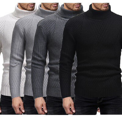 New Mens Polo Roll Turtle Neck Pullover Knitted Jumper Turtleneck Tops Sweater