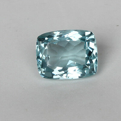 24.55 Ct. Natural Aquamarine Greenish Blue Color Cushion Cut Loose Certified Gem