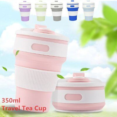 NEW Collapsible Travel Mug 350ML Reusable Leakproof Travel Cup Foldable Tea Cup