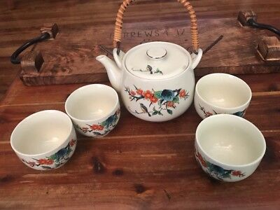 Teapot Vintage Asian Made In Japan Beautiful Tea Set With 4 Cups Bowls