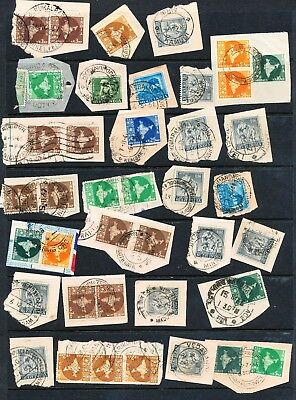 Large Collection of Indian Stamps on Piece with Circular Postmarks 71