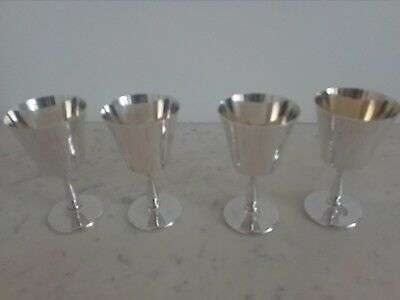silver plated 4 cups / goblets / tankards sheffield first part of 20th Century