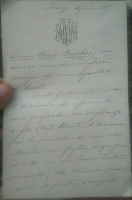 1887 Letter The Autograph Large Actor And Patriot Milanese Tommaso Salvini