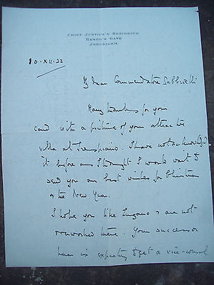 1932 LETTER OF 'CHIEF JUSTICE JERUSALEM' MICHAEL McDONNELL to CONSOLE ITALIAN