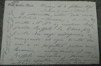 1896 Pisa: Letter And Poetry Autographed Dla Literate Pisano Ersilio Bicci