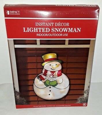 impact 16 lighted jolly snowman christmas window decoration indooroutdoor - Lighted Christmas Window Decorations Indoor