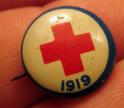 Red Cross 1919 Pinback Pin American Art Sign New York Old Medical Collectible