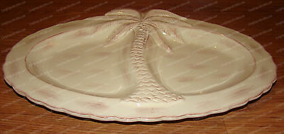 Divided Party Plater, Palm Tree (by Pacific, 46902) 3D Design, Stoneware, 15in.