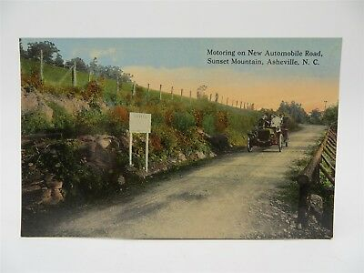 Vintage Early 1900's Postcard - Old Car on Road, Sunset Mountain, Asheville, NC