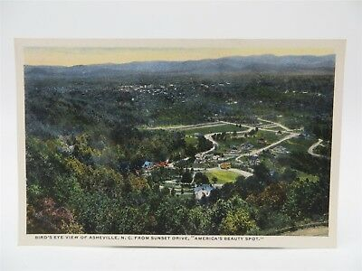 Vintage Early 1900's Postcard - Aerial View of Asheville, NC From Sunset Drive