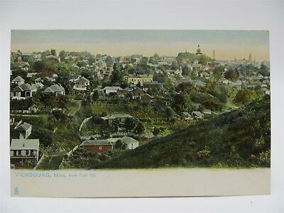 Vintage Early 1900's Postcard, Vicksburg, MS From Fort Hill