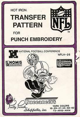 1980's VTG Punch Embroidery Buccaneers Transfer Pattern NFLH-26