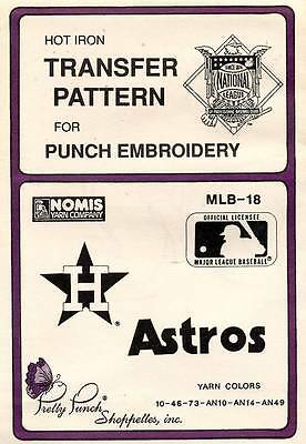 1980's VTG Punch Embroidery Astros Transfer Pattern MLB-18