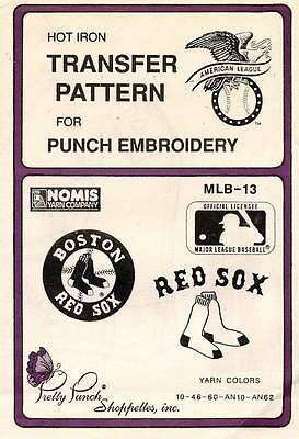 1980's VTG Punch Embroidery Red Sox Transfer Pattern MLB-13