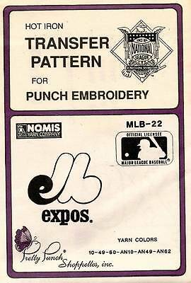 1980's VTG Punch Embroidery Expos Transfer Pattern MLB-22