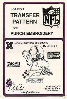 1980's VTG Punch Embroidery Falcons Transfer Pattern D-NFLH-22