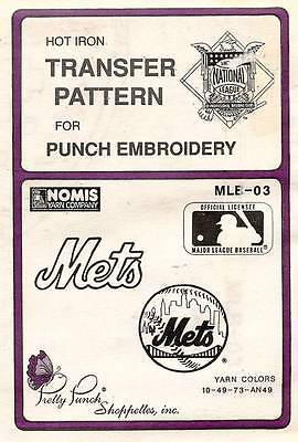 1980's VTG Punch Embroidery Mets Transfer Pattern MLB-03