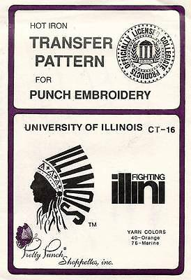 1980's VTG Punch Embroidery University of Illinois Transfer Pattern CT-16
