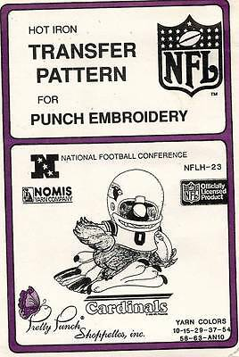 1980's VTG Punch Embroidery Cardinals Transfer Pattern NFLH-23