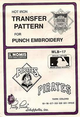 1980's VTG Punch Embroidery Pirates Transfer Pattern MLB-17